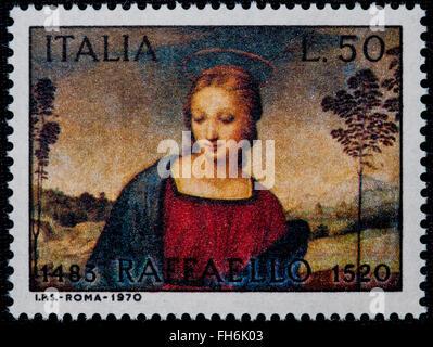 1969 - Italian mint stamp issued to commemorate Raffaello Lire 50 - Stock Photo