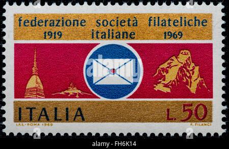 1969 - Italian mint stamp issued to commemorate the Italian Philatelic Societies. Lire 50 - Stock Photo