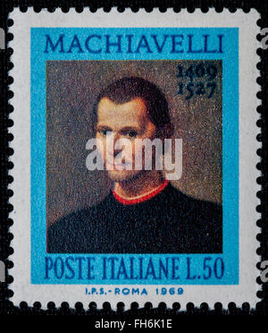 1969 - Italian mint stamp issued to commemorate Machiavelli Lire 50 - Stock Photo