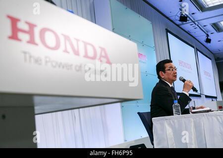 Honda Motors Co Ltd President CEO Takahiro Hachigo Speaks During A Press