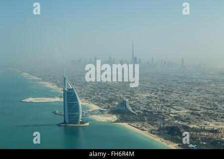 Dubai, United Arab Emirates - October 17, 2014: Photograph of the famous Burj Al Arab hotel in Dubai taken from - Stock Photo