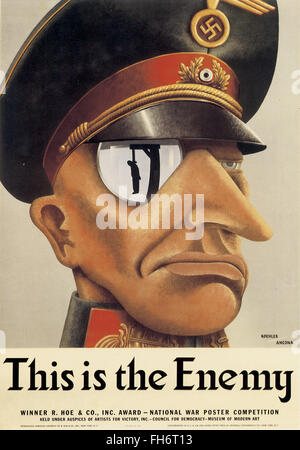 Karl Koehler - Victor Ancona - This Is the Enemy, 1942 - National War Poster Competition - US Propaganda Poster - Stock Photo