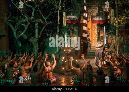 Batu Bulan, Bali, Indonesia - July 19, 2015: Performance of a traditional Kecak dance. - Stock Photo