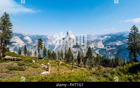View into Yosemite Valley, Half Dome, Yosemite National Park, California, USA - Stock Photo