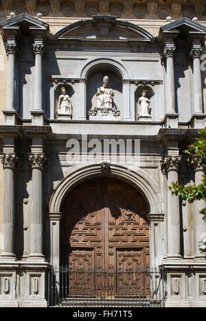 South West front door of the Santa Maria de la Encarnacion Cathedral, Granada, Granada Province, Andalusia, Spain, - Stock Photo