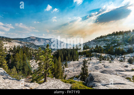 View into the High Sierra, Olmsted Point, Yosemite National Park, California, USA - Stock Photo