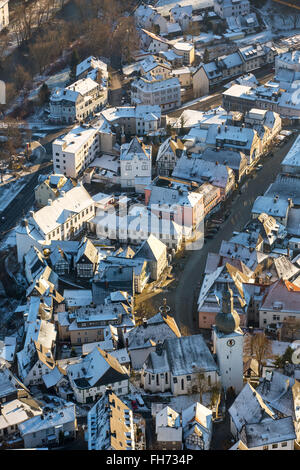 Historic centre with the Old Market in the snow, Winter, Arnsberg, Sauerland, North Rhine-Westphalia, Germany - Stock Photo