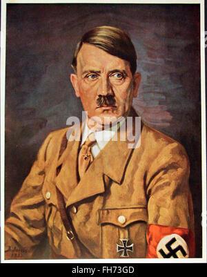 Official portrait of Adolf Hitler in uniform- German Nazi Propaganda Poster - WWII - Stock Photo