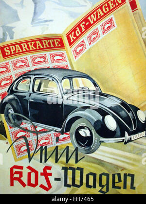 Wolkswagen - German  Propaganda Poster - WWII - Stock Photo