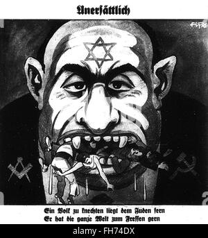 Anti semitism - German Nazi Propaganda Poster - WWII - Stock Photo