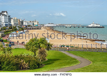 View over the Eastbourne Waterfront and Pier, East Sussex, South England | Aussicht ueber die Strandpromenade von - Stock Photo
