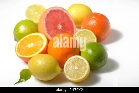 Citrus fruits lemon, lime, grapefruit, orange isolated on white - Stock Photo