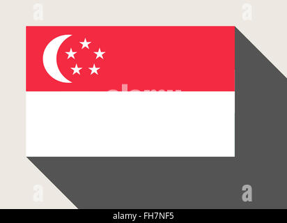 Singapore flag in flat web design style. - Stock Photo