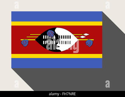 Swaziland flag in flat web design style. - Stock Photo