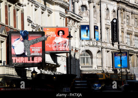 London, England, UK. Theatres on Shaftesbury Avenue - Thriller (Lyric Theatre); Nell Gwynn (Apollo) Curious Incident... - Stock Photo