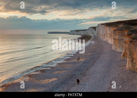 Sunset at Seven Sister on the Sussex coast. South Downs National Park. - Stock Photo