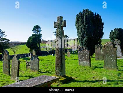 9th-century cross in the churchyard of St Paul's Church, Irton Green, West Cumbria, England UK - Stock Photo