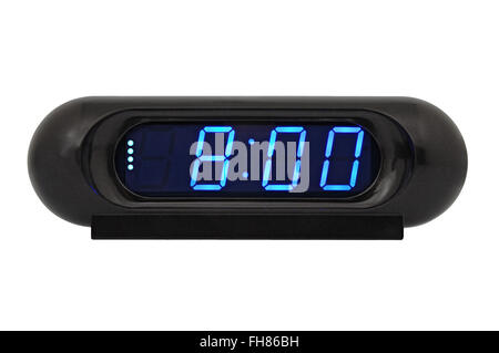 Desktop electronic clock display shows the time 8:00 isolated on a white background - Stock Photo