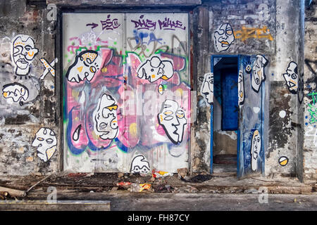 Güterbahnhof train station, Pankow, Berlin. Street art inside old turntable building at disused former freight rail - Stock Photo