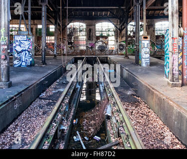 Güterbahnhof train station, Pankow, Berlin. Old rail track inside turntable building at disused former freight rail - Stock Photo