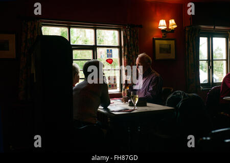 The Crown Pub at Little Walden, Essex, England, UK. Feb 2016 Dringking a beer in the warm pub surroundings. - Stock Photo