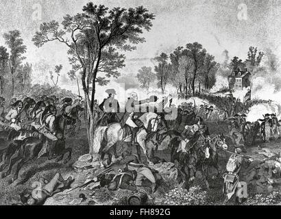 American Revolutionary War (1775-1783). Siege of Yorktown (September 28-October 19, 1781). American Continental - Stock Photo
