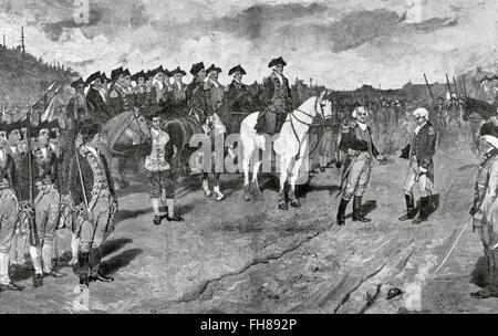 American Revolutionary War (1775-1783). Siege of Yorktown. Surrender of British Major General Lord Charles Cornwallis, - Stock Photo