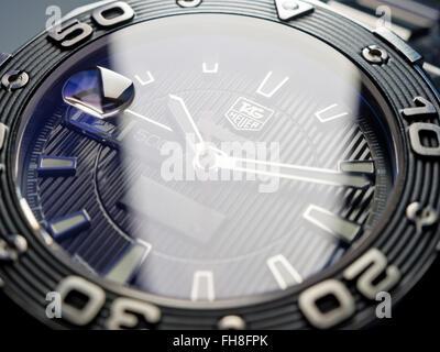 Los Angeles, CA, USA - December 20, 2015: Tag Heuer Aquaracer 500 Diver Watch Clock Face - Stock Photo