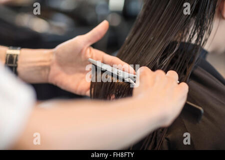 Hairdresser cutting hair of customer - Stock Photo