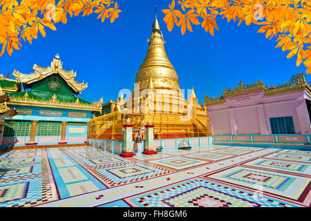 Golden pagoda in sagaing hill, Mandalay, myanmar. - Stock Photo