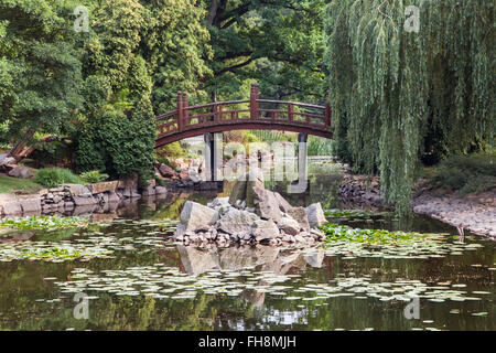 Japanese garden in Wroclaw, Poland. - Stock Photo