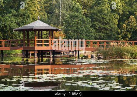 Bridge in the Japanese garden of Wroclaw, Poland. - Stock Photo