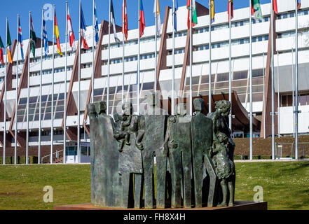 Human Rights monument in front of the Council of Europe building, Palais de l'Europe, Strasbourg, Alsace, France, - Stock Photo
