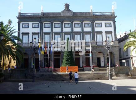 The City Council of Las Palmas is located in Piazza Espiritu Santo opposite the Santa Ana Cathedral - January 2016 - Stock Photo