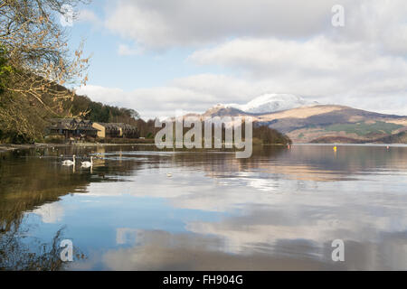 Luss, Loch Lomond, Scotland, UK. 24th February, 2016. UK weather: A bright winter day at Luss, on the west side - Stock Photo