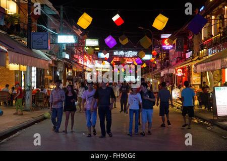 Pub street at night in Siem Reap, Cambodia - Stock Photo
