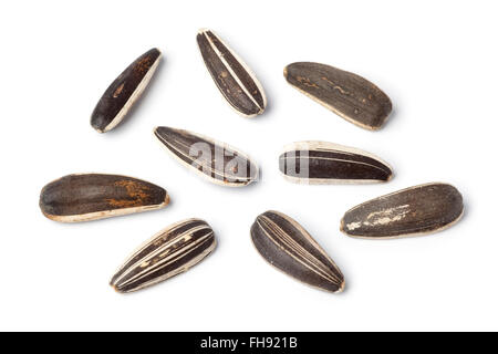 Close up of fresh sunflower seeds on white background - Stock Photo