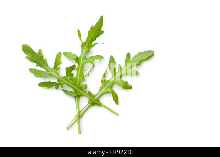 Fresh raw Arugula leaves on white background - Stock Photo