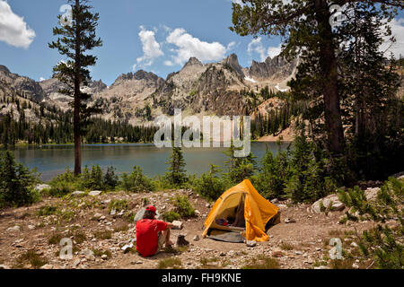 ID00402-00...IDAHO - Campsite at Alice Lake in the Sawtooth Wilderness Area. (MR) - Stock Photo