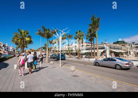TENERIFE, SPAIN - FEBRUARY 23. Shopping street in Las Americas on February 23, 2016 in Adeje, Tenerife, Spain. - Stock Photo