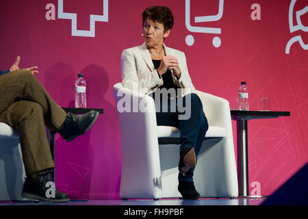 Barcelona, Catalonia, Spain. 24th Feb, 2016. CEO of Getty Images Dawn Airey speaks during a conference about Mobile - Stock Photo
