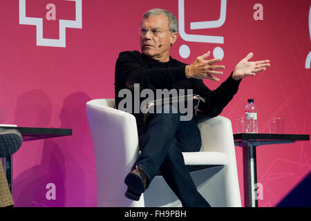 Barcelona, Catalonia, Spain. 24th Feb, 2016. Chief Executive of WPP Sir. Martin Sorrell gestures during a conference - Stock Photo