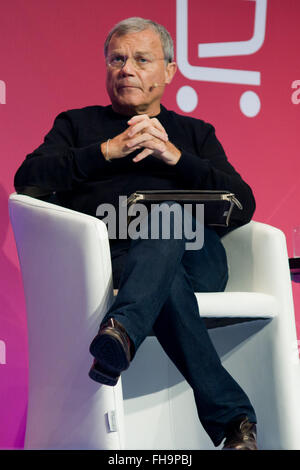 Barcelona, Catalonia, Spain. 24th Feb, 2016. Chief Executive of WPP Sir. Martin Sorrell during a conference about - Stock Photo