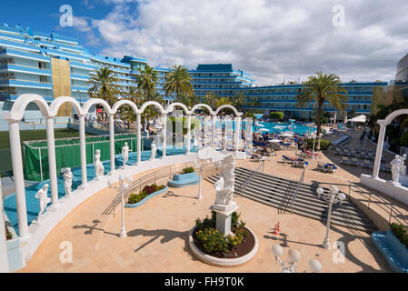 TENERIFE, SPAIN - FEBRUARY 23. Mediterranean palace hotel in Las Americas on February 23, 2016 in Adeje, Tenerife, - Stock Photo