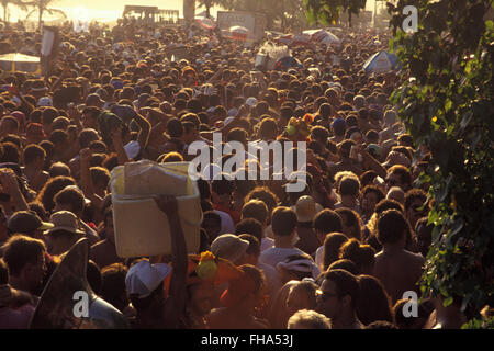 Crowd at Banda de Ipanema, Rio de Janeiro street Carnival - Banda de Ipanema is one of the largest Carnival blocks - Stock Photo
