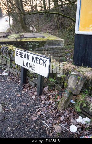 Break Neck Lane road sign - Stock Photo