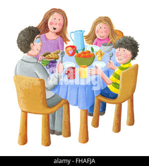 Acrylic illustration of happy family eating breakfast - artistic content - Stock Photo