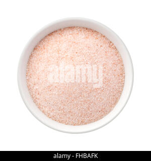 Fine Himalayan Pink Salt in a Ceramic Bowl. The image is a cut out, isolated on a white background. - Stock Photo