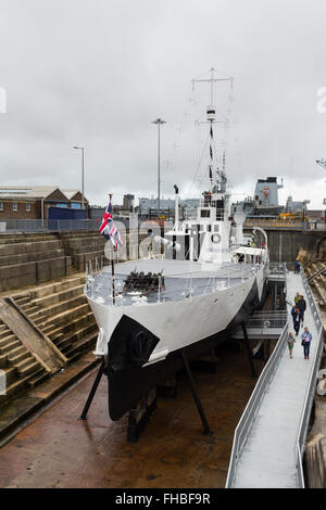HMS M.33 is a M29 class Monitor, floating gun platform, built in 1915. The ship, preserved at the Historic Dockyard, - Stock Photo