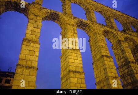 Roman aqueduct, Segovia, Castilla-Leon, Spain - Stock Photo